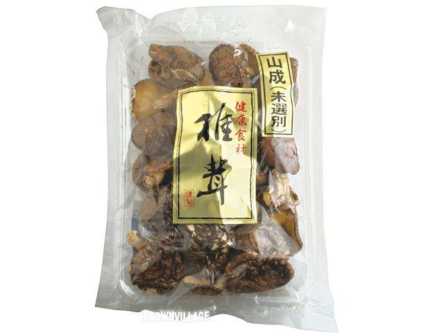 【国内産乾燥椎茸(未選別)(90g)】大きさ色々の干ししいたけはお料理に重宝(オーサワジャパンの乾物)